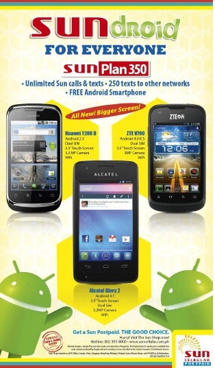 Anyone can own a smartphone with sun postpaid gadget for Sun mobile plan