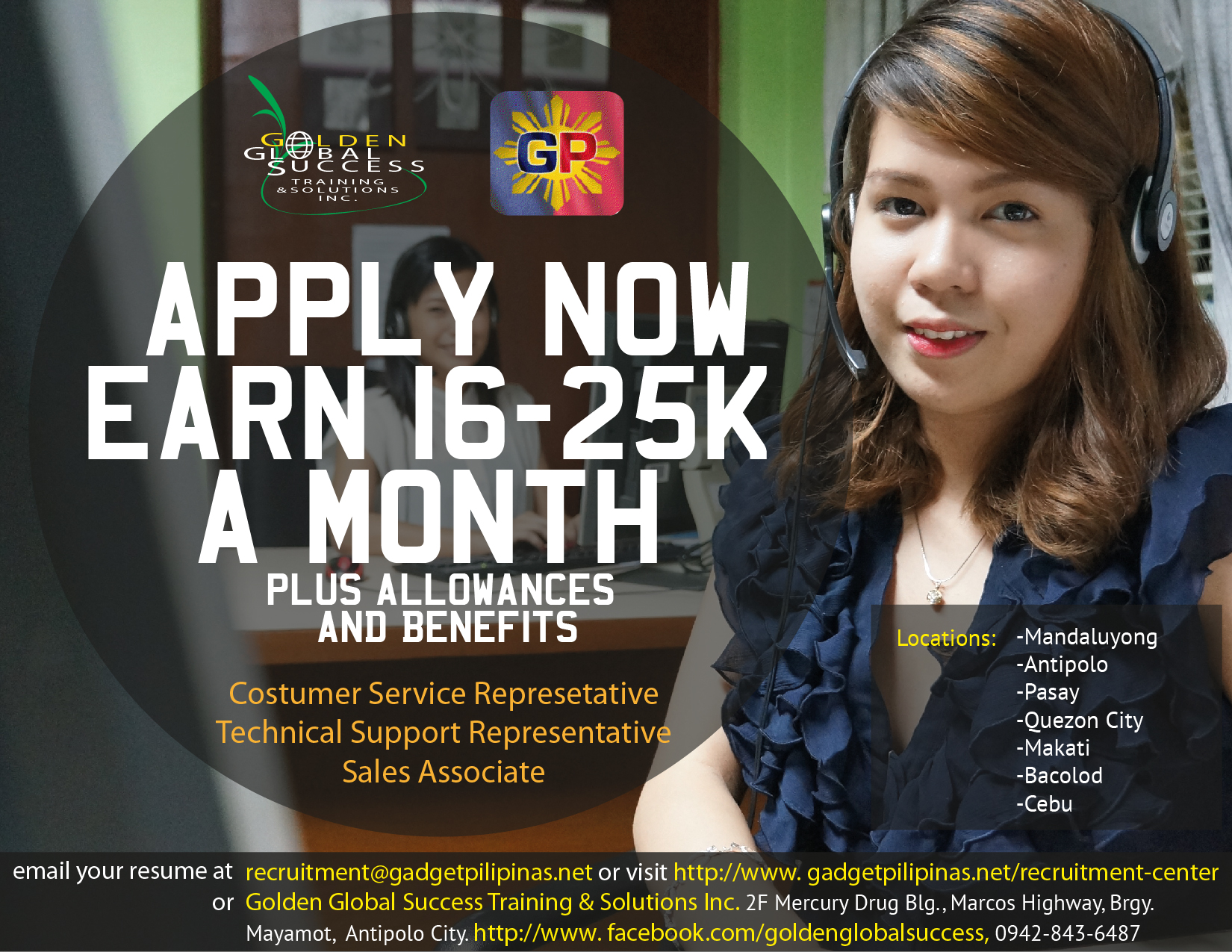Gadget Pilipinas Recruitment, Recruitment, Call Center Training, Call Center, BPO, Contact Center, Business Process Outsourcing, Day Shift, Graveyard Shift, Back Office, Customer Service Representative, CSR, Sales Representative, Sales Support, Technical Support Representative, TSR, Technical Support, Tech Support, Data Processing, Data Encoding, Back Office Support, Non-Voice, Non Voice, Customer Service, Jobs, Pioneer Account, US Account, Australian Account, UK Account