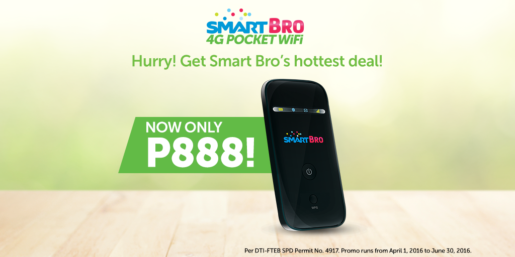 Smart Bro 4G Pocket Wifi ZTE MF65M is Now just PhP888, 64% More