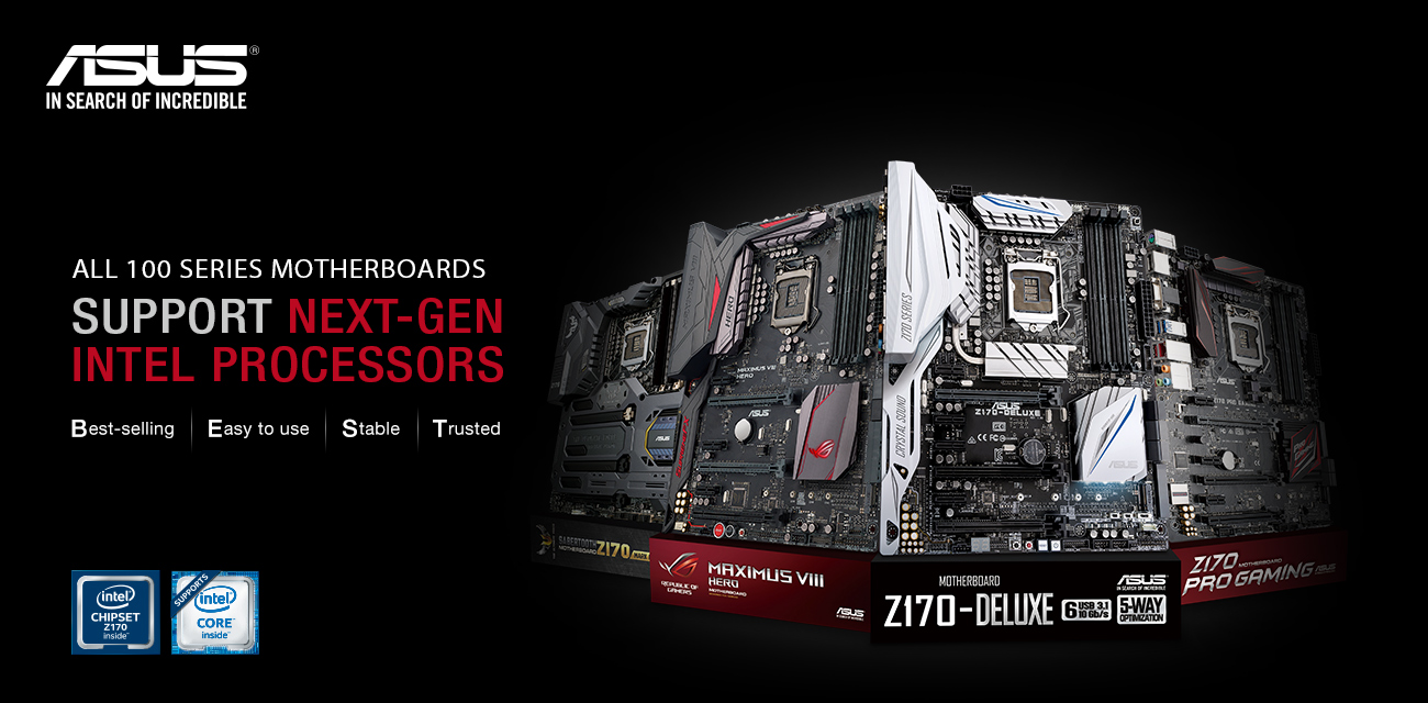 asus mobo1 - ASUS 100 Series Motherboards Now Support Next Gen LGA 1151 Intel Core Processors