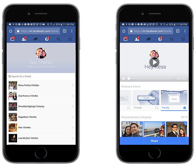 Say Thanks to your Friends with Facebook
