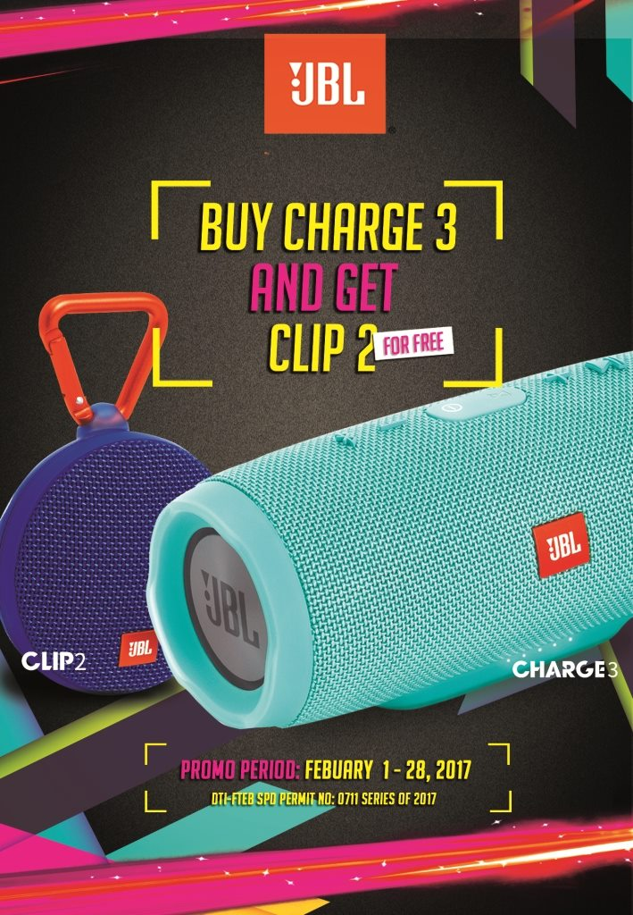 Get a JBL Clip 2 for FREE When You Buy a JBL Charge 3! (February 1 to 28 Only)