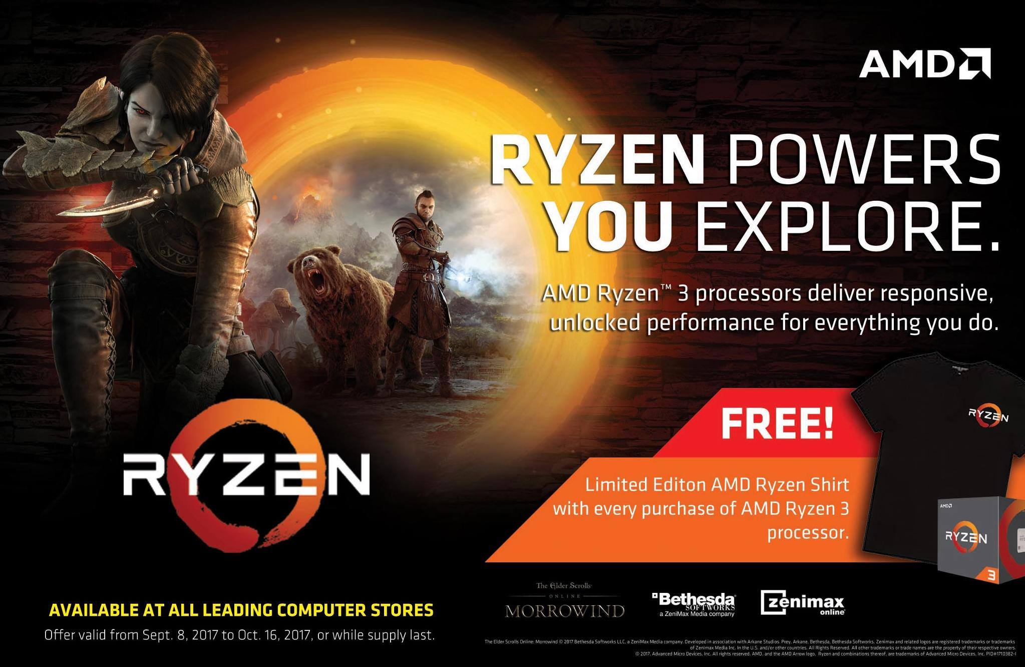 Get a FREE Ryzen Shirt for Every Purchase of an AMD Ryzen 3 Processor!