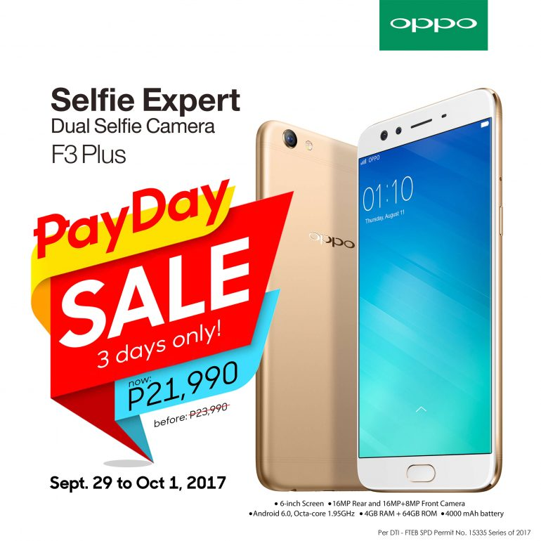 F3 PLUS PAY SALE 770x770 - OPPO F3 Plus Gets Weekend Price Cut: Only PhP21,990 Until October 1!
