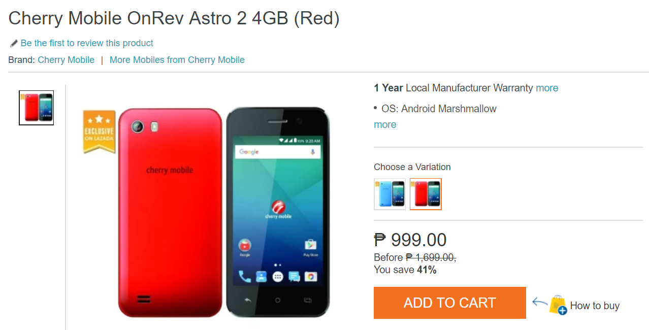 Lazada Flash Sale: Cherry Mobile OnRev Astro for Only PhP999!