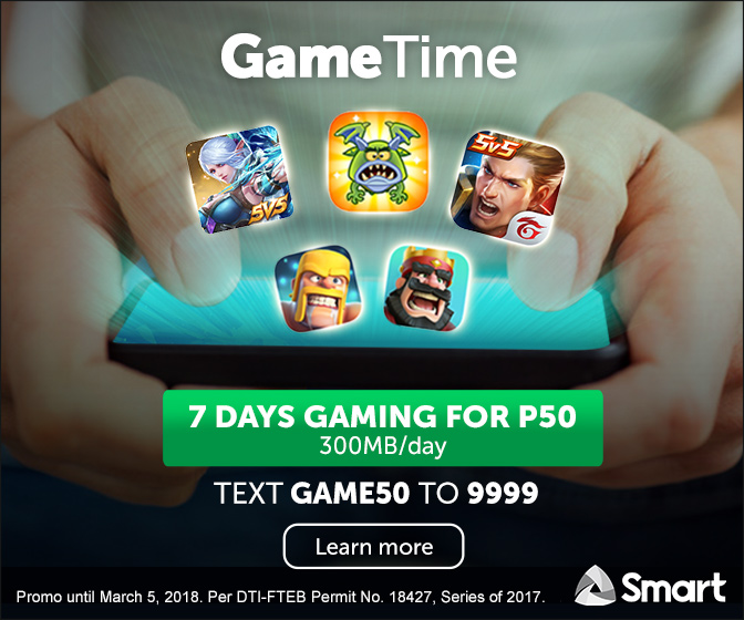 Get 7 Days of AoV, Mobile Legends, and More for Only PhP50 with Smart's Gametime Promo!