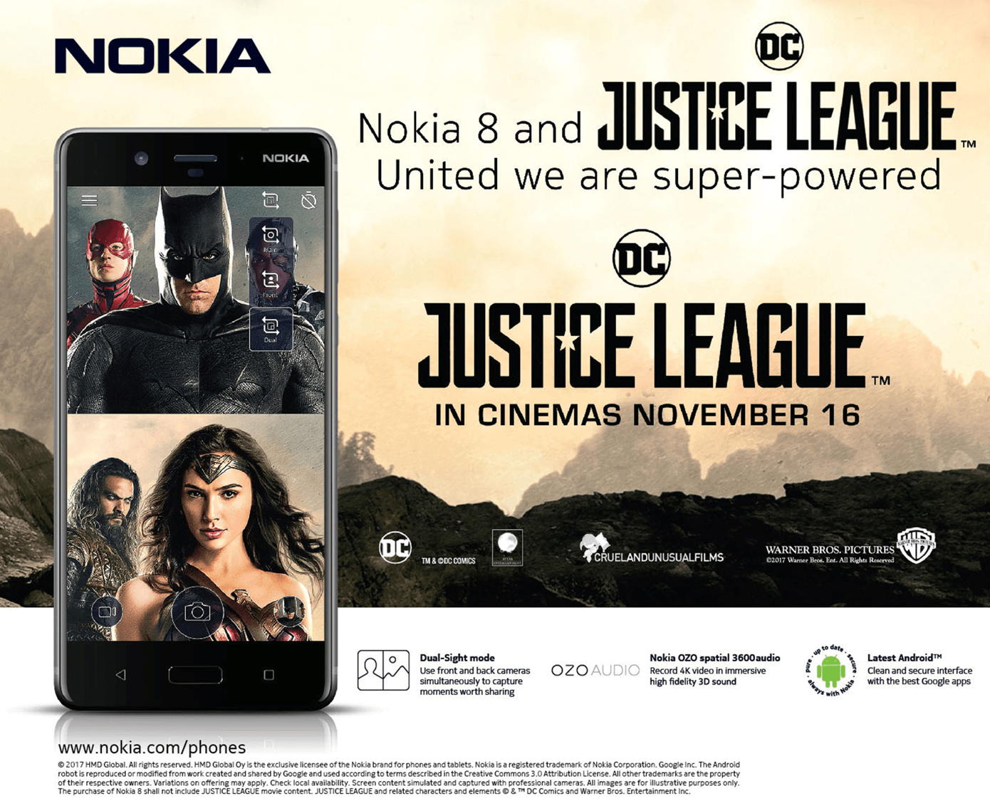 Justice League   Nokia mobile 1 - Get FREE Tickets to Watch Justice League When You Buy a Nokia Smartphone from MemoXpress!