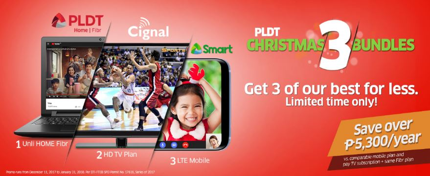 PLDT Christmas 3 Bundl - Celebrate this Christmas season with PLDT's Christmas 3 Bundles Promo