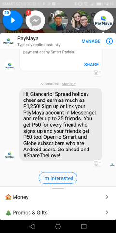 "PayMaya Aguinaldo 1 240x480 - Digital ""aguinaldo"" via Facebook Messenger is possible via PayMaya"