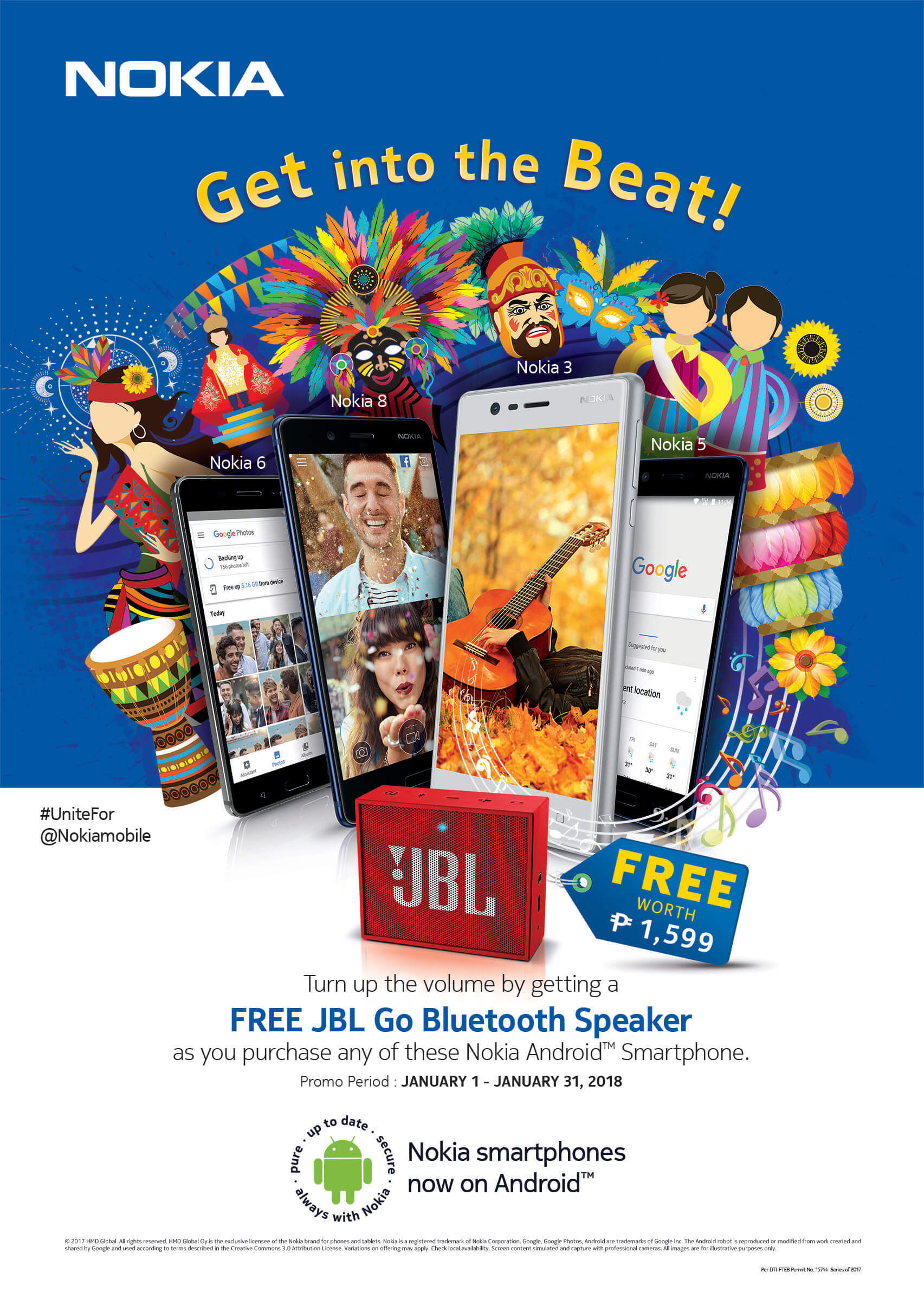 Nokia JBL FESTIVAL POSTER RANGE 1 - Get a FREE JBL Go Speaker With Every Purchase of a Nokia Android Smartphone!