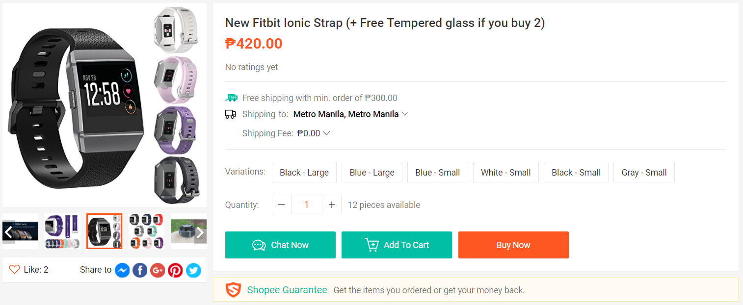 New Fitbit Ionic Strap (+ Free Tempered glass if you buy 2)