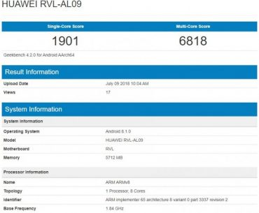 Honor Note 10 Spotted in Geekbench: Reveals Kirin 970 Chip