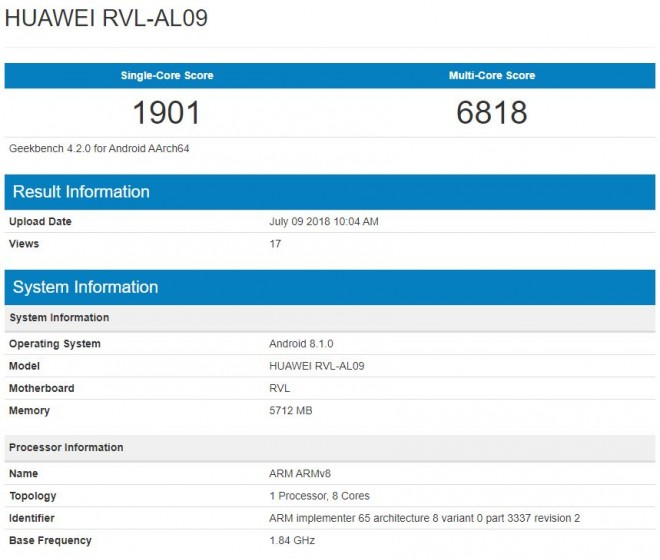 honor note 10 - Honor Note 10 Spotted in Geekbench: Reveals Kirin 970 Chip