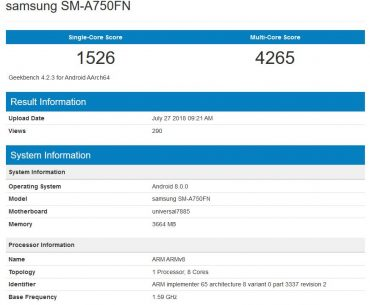 New Galaxy A Series Device Spotted in Geekbench