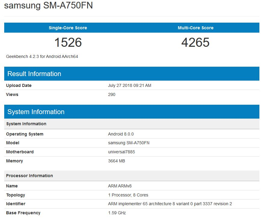 Mystical Samsung A - New Galaxy A Series Device Spotted in Geekbench