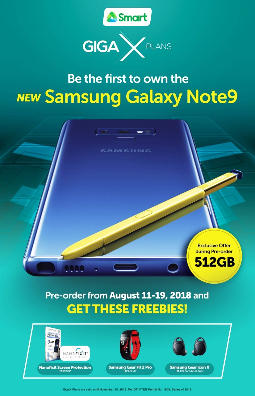 Get Your Samsung Galaxy Note 9 on Smart's GigaX Plans!
