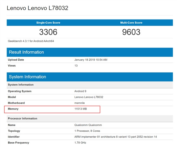 Lenovo Z5 Pro GT with 12GB of RAM Spotted in Geekbench