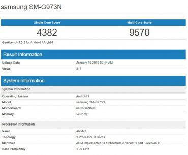 Samsung Galaxy S10 with Exynos 9820 Spotted in Geekbench