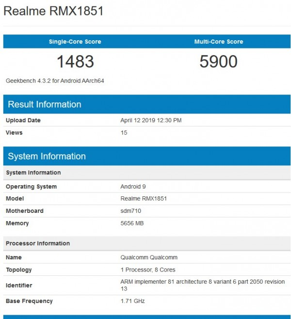 Realme 3 Pro specs spotted on Geekbench and Bluetooth SIG