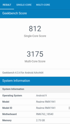 realme c2 review geekbench