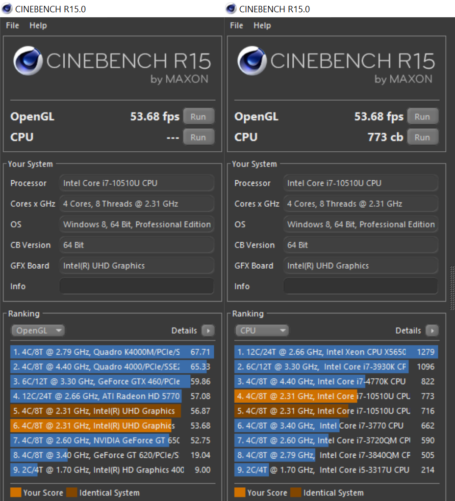 Yoga C640 Cinebench R15