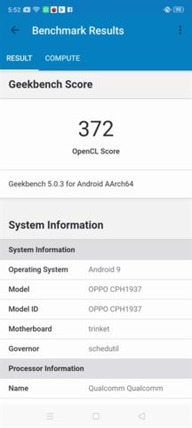 OPPO A9 2020 Geekbench Compute