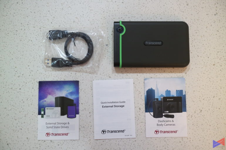 Transcend StoreJet 25M3 HDD Review Package Contents