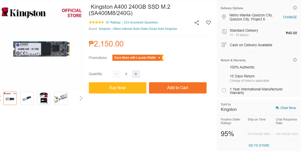 Php 10k Work From Home PC Build Guide - Kingston A400 SSD