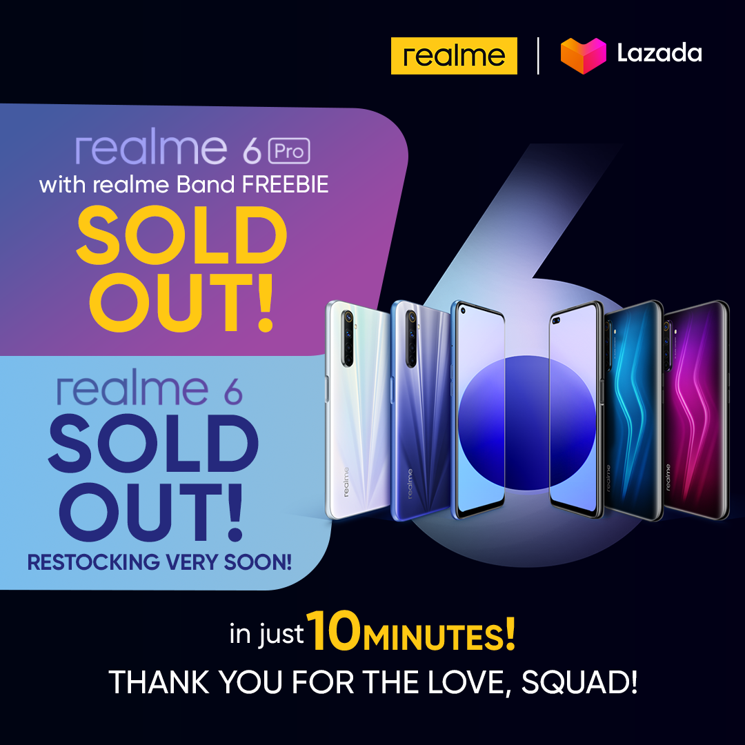 realme 6 and 6 Pro sold out