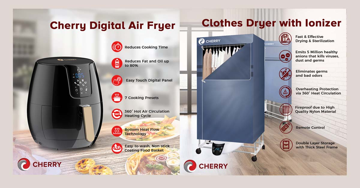 Cherry Digital Air Fryer and Clothes Dryer with Ionizer