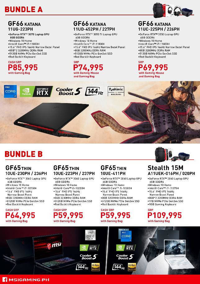 MSI 2021 Back to School Promo bundle a and b