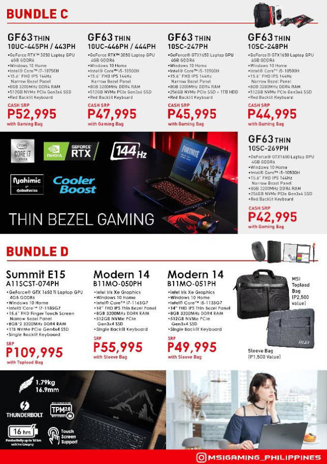 MSI 2021 Back to School Promo bundle c and d