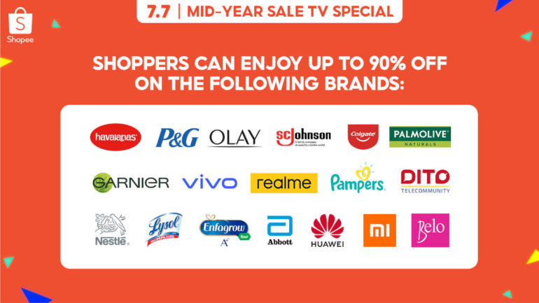 Shopee 7.7 Mid-Year Sale TV Special brands