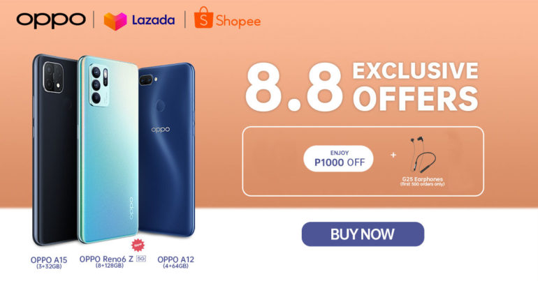 OPPO Lazada and Shopee 8.8 Super Deals